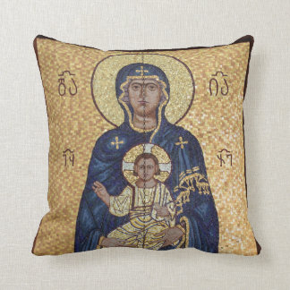 Mary And Jesus Mosaic Throw Pillow