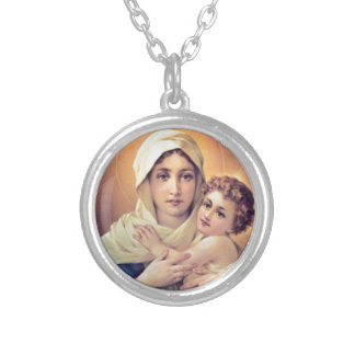 Mary and Jesus Silver Plated Necklace