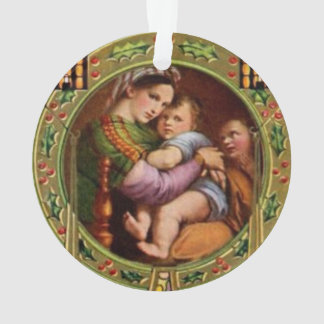Mary And Jesus With Holly Ornament