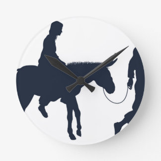 Mary and Joseph Christian Illustration Silhouettes Round Clock