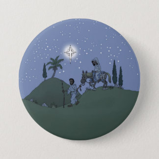 Mary and Joseph, Christmas card. 3 Inch Round Button