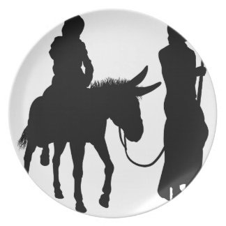 Mary and Joseph Nativity Silhouettes Plate