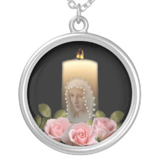 Mary and roses silver plated necklace