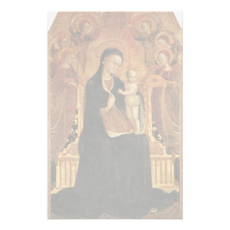 Mary And The Infant Jesus Surrounded By Six Angels Stationery