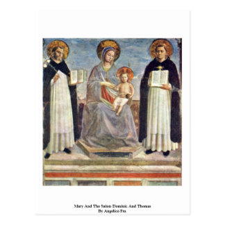 Mary And The Saints Dominic And Thomas Postcard