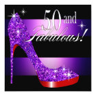 Mary Ann 50 & Fabulous Glitz Bling Stiletto Stripe Card