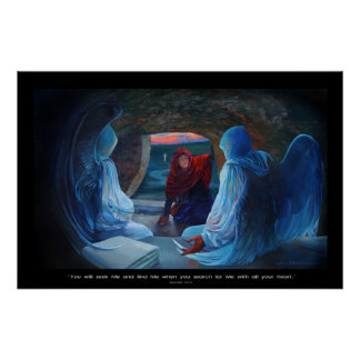 Mary at the Tomb of Christ Poster