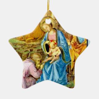Mary avec Jésus Ornement Étoile En Céramique