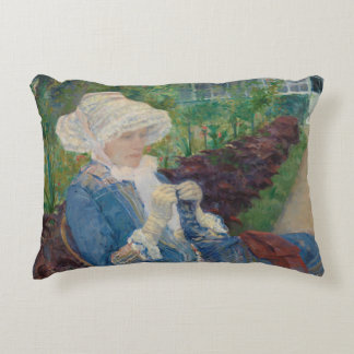Mary Cassat- Lydia Crocheting in the Garden Decorative Pillow