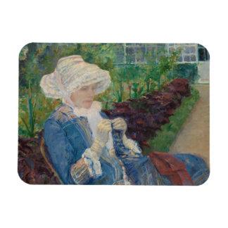 Mary Cassat- Lydia Crocheting in the Garden Magnet