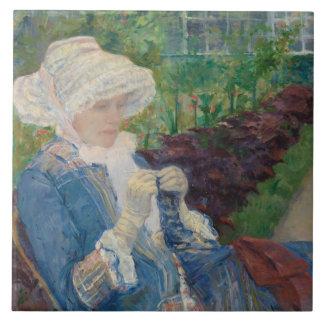 Mary Cassat- Lydia Crocheting in the Garden Tile