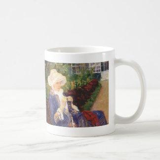 Mary Cassatt- Lydia crocheting in garden at marly Coffee Mug
