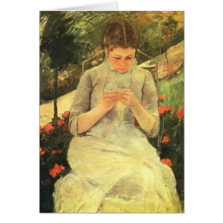 Mary Cassatt- Young Woman Sewing in the garden Card