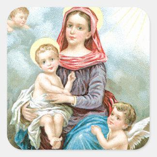 Mary Cherubs and Baby Jesus Square Sticker