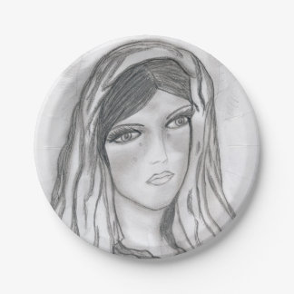Mary Crying 7 Inch Paper Plate