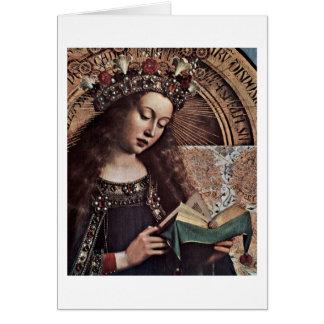 Mary Enthroned Detail By Hubert Van Eyck Card