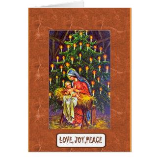 Mary et Jésus avec un arbre de Noël Carte De Vœux