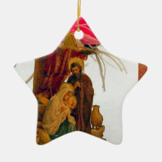 Mary et Joseph avec Jésus Ornement Étoile En Céramique