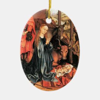 Mary et le bébé Jésus Ornement Ovale En Céramique