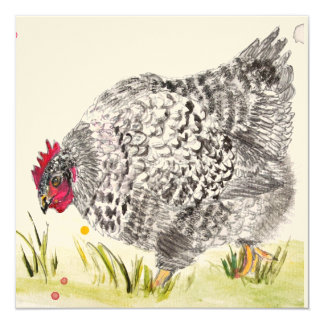 """Mary Hen"" Speckled Hen chicken greeting card"