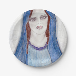 Mary In Blue 7 Inch Paper Plate