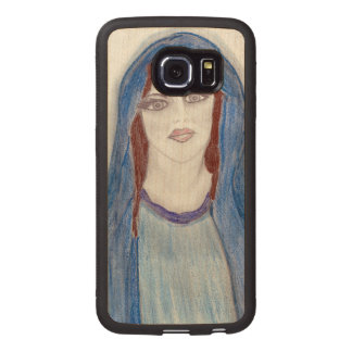 Mary In Blue Wood Phone Case