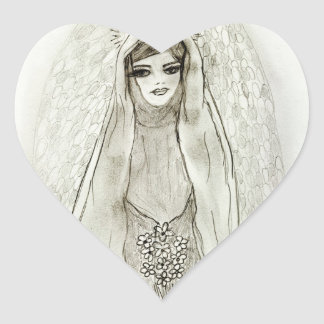 Mary in the Grotto Heart Sticker