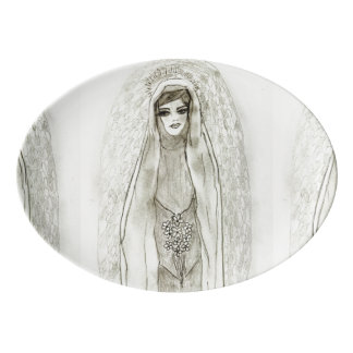 Mary in the Grotto Porcelain Serving Platter