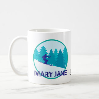Mary Jane Ski Circle Personalized Coffee Mug