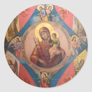 Mary, Jesus, And Angels Classic Round Sticker