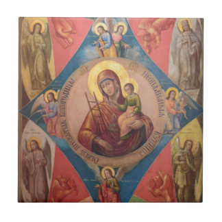 Mary, Jesus, And Angels Tile