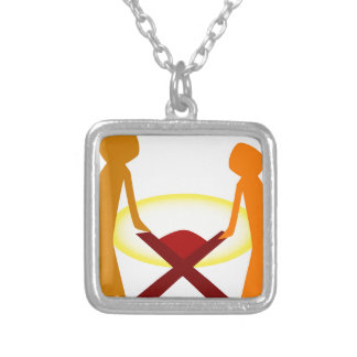Mary Joseph And Baby Jesus Silver Plated Necklace