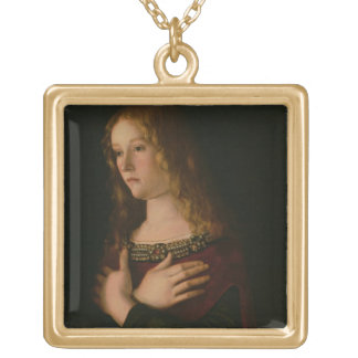 Mary Magdalene, detail from the Virgin and Child w Gold Plated Necklace