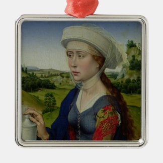 Mary Magdalene, from the right hand panel Silver-Colored Square Ornament