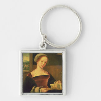 Mary Magdalene Reading (oil on panel) Silver-Colored Square Keychain