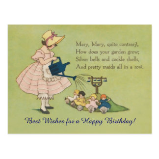 Mary Mary Quite Contrary Happy Birthday Postcard