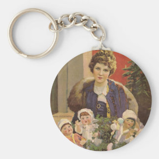 Mary Pickford Christmas-themed magazine cover Keychain