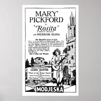 Mary Pickford ROSITA vintage movie ad silent era Poster