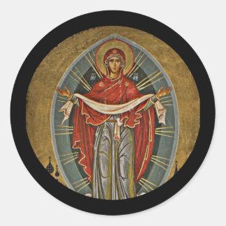 Mary Protector Theotokos Classic Round Sticker