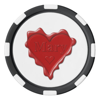 Mary. Red heart wax seal with name Mary Poker Chips