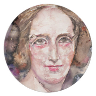 mary shelley - watercolor portrait plate