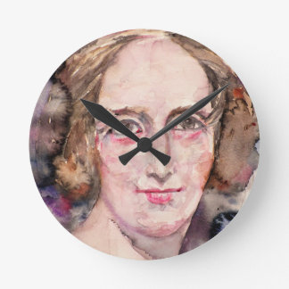 mary shelley - watercolor portrait round clock