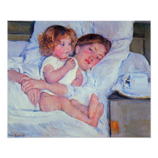 Mary Stevenson Cassatt-Breakfast in bed Poster