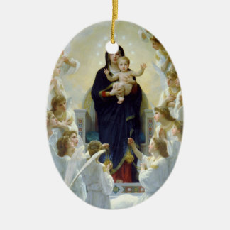 Mary with Angels - Regina Angelorum Ceramic Oval Ornament