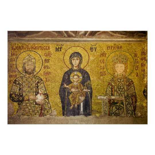 Mary with Baby Jesus Byzantine Mosaic Poster