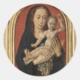 Mary with child by Hugo van der Goes Classic Round Sticker