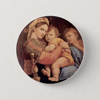 Mary With Christ Child And John The Baptist Tondo 2 Inch Round Button
