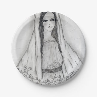 Mary with Roses 7 Inch Paper Plate
