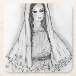 Mary with Roses Square Paper Coaster