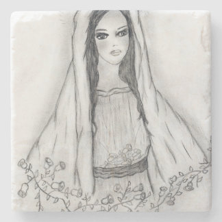Mary with Roses Stone Coaster